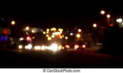 voitures, en mouvement, route, nuit
