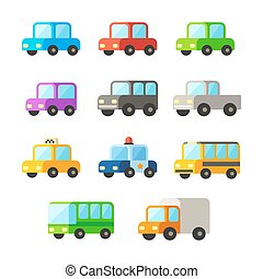 voitures, ensemble, dessin animé