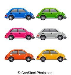 voitures, ensemble, icônes