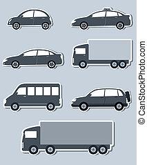 voitures, ensemble, isolé, transport