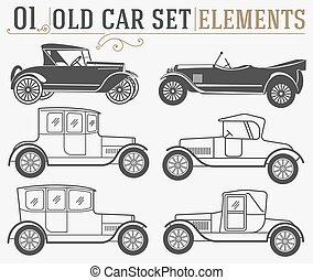 voitures, ensemble, vieux, isolé