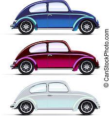 voitures, ensemble, vieux, multicolore