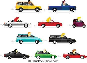 voitures, femmes, conduite, homme affaires