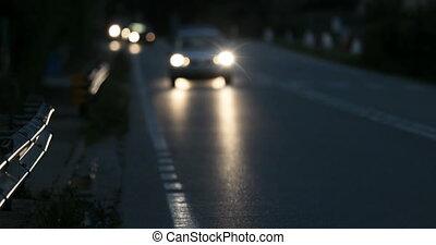 voitures, feux circulation, brouillé