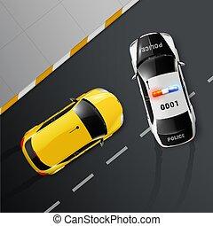 voitures, garde, police, composition