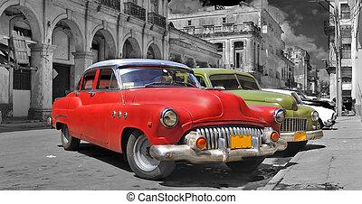 voitures, havane, coloré, panorama
