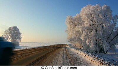 voitures, hiver, route