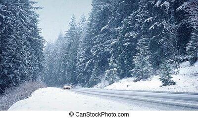 voitures, hiver, tempête neige, autoroute