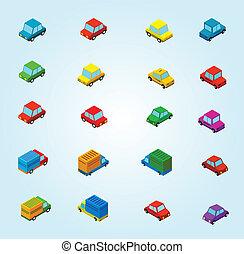 voitures, isométrique