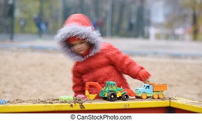 voitures, jeux, cour de récréation, enfant