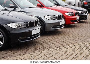 voitures, ligne, utilisé, luxe