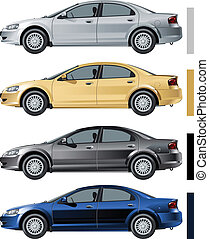 voitures, moderne, ensemble