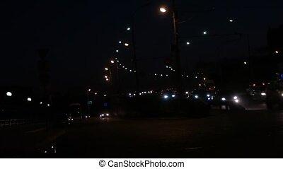 voitures, mouvement rapide, rue, en mouvement, nuit, long, traffic.