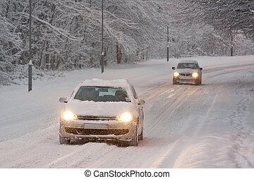voitures, neige, conduite, deux