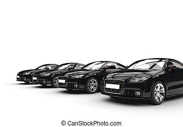 voitures, noir, perspective, coup, frais