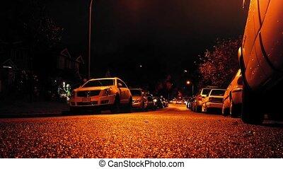 voitures, nuit, vue, route, niveau