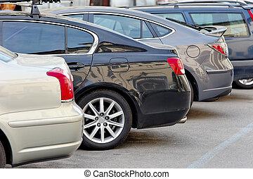 voitures, parc, lot, stationnement