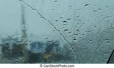 voitures, pluvieux, pare-brise, passing.