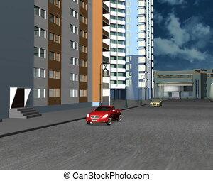 voitures, road., collision