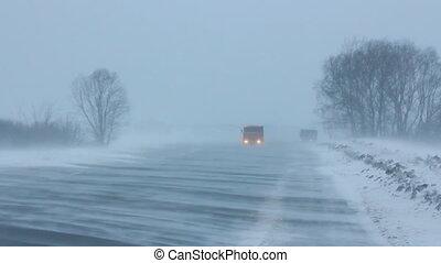 voitures, route, hiver, tempête neige
