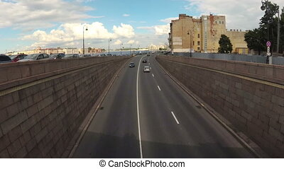 voitures, rue., timelapse, autoroute, trafic, petersburg, route
