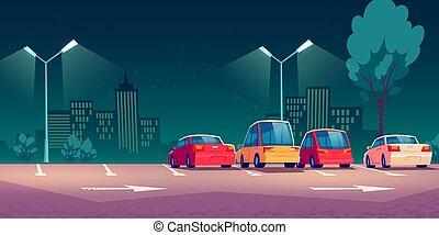 voitures, rue, ville, nuit, stationnement