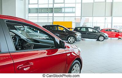 voitures, salon., concession, plusieurs, nouveau