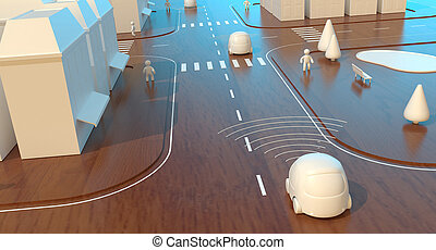 voitures, self-driving, animation, -, 3d