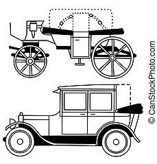voitures, silhouettes, ensemble, vieux