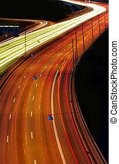 voitures, soir, à, ternissure mouvement