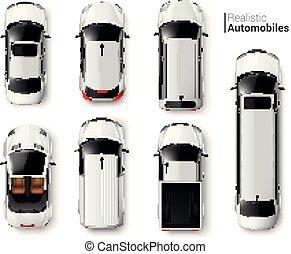 voitures, sommet, ensemble, vue