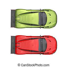 voitures, sommet, -, métallique, couleurs, vert, super, rouges, vue