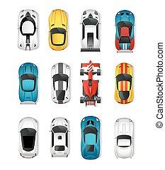 voitures, sommet, sport, ensemble, vue