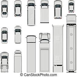 voitures, sommet, vecteur, vue.