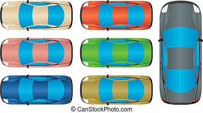 voitures, sommet, -, vue
