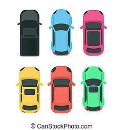 voitures, sommet, vue.