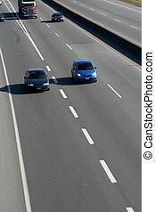 voitures, sur, autoroute