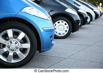 voitures, sur, stationnement