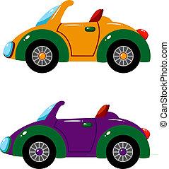 voitures, sur, vecteur, deux, blanc