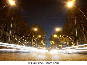 voitures, temps, en mouvement, jeûne, nuit