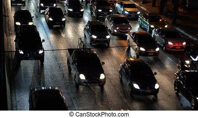 voitures, temps, multi-lane, confiture, arrêté, nuit, trafic, route
