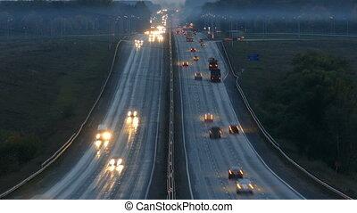 voitures, timelapse, autoroute, nuit, route, voyager