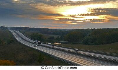 voitures, timelapse, coucher soleil, route, autoroute