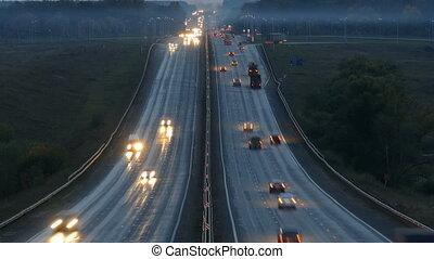 voitures, timelapse, nuit, autoroute, route
