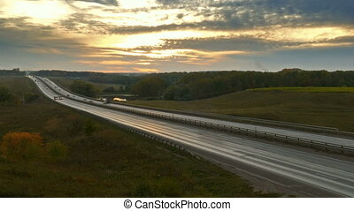 voitures, timelapse, zoom, route, coucher soleil, autoroute