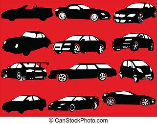voitures, vecteur, -, collection