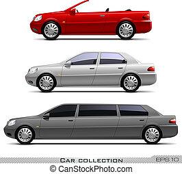 voitures, vecteur, ensemble, classique