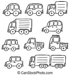 voitures, vecteur, ensemble