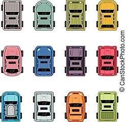 voitures, vue dessus