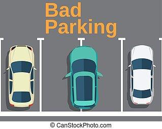 voitures, vue., sommet, mauvais, parking.